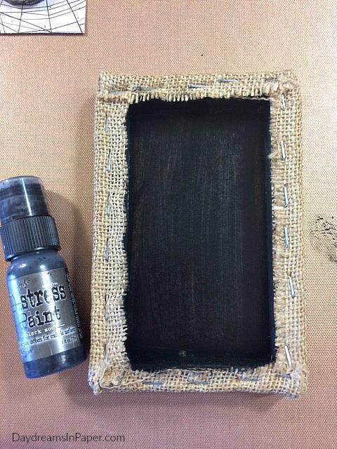 Burlap Panel Painted Black On The Inside
