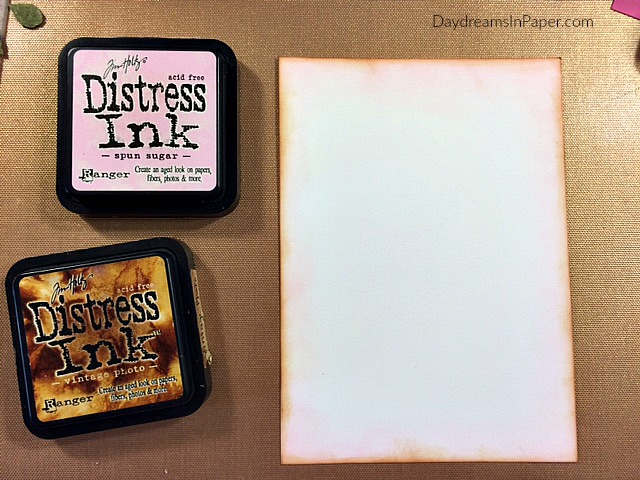 White Cardstock Inked with Spun Sugar and Vintage Photo Distress Ink