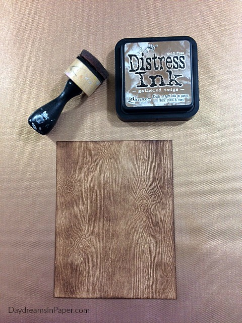 Woodgrain Paper Inked with Gathered Twigs Distress Ink