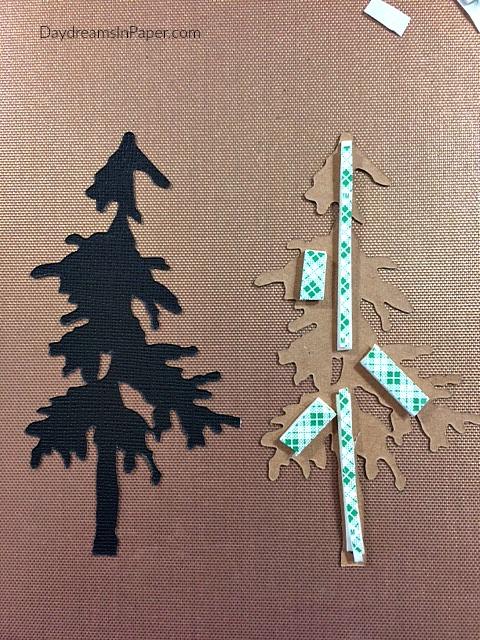 3D Foam Added To Paper Pine Tree Piece