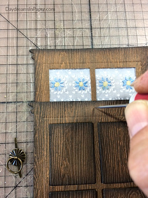 Adding a Doorknocker to Woodgrain Door Made Out Of Paper