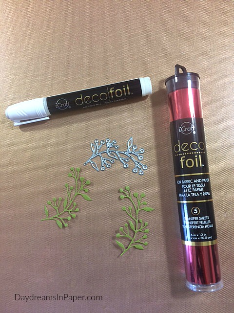 Supplies for Foiling Small Die Cut Leaves with Berries Using Deco Foil