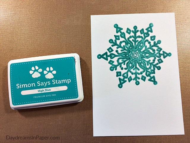Snowflake Stamped on Cardstock