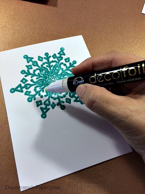 Adding Deco Foil Glue to Snowflake