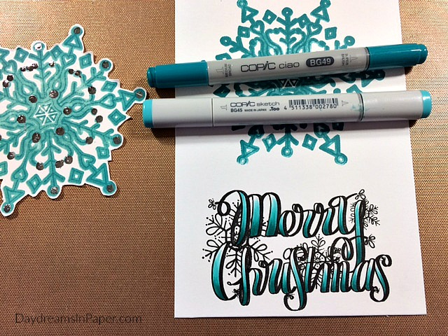 Copic Coloring Merry Christmas Sentiment