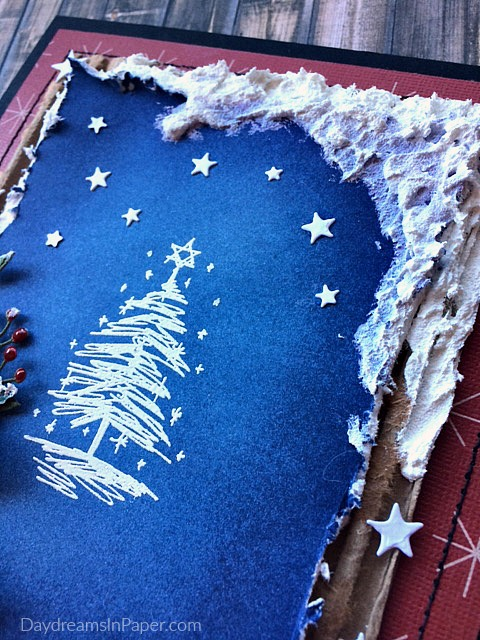 Handmade Snow Scene Christmas Card Closeup