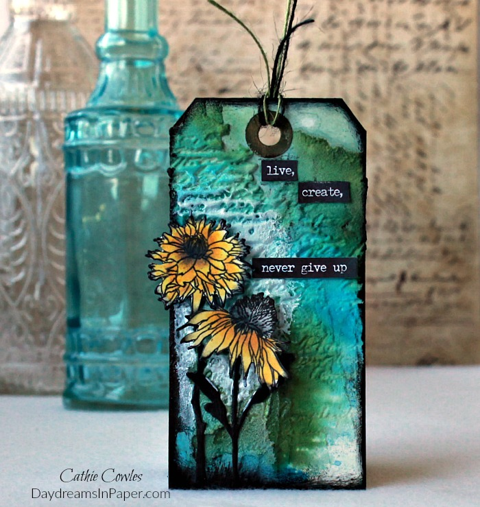 Mixed Media Tag with Embossed Background
