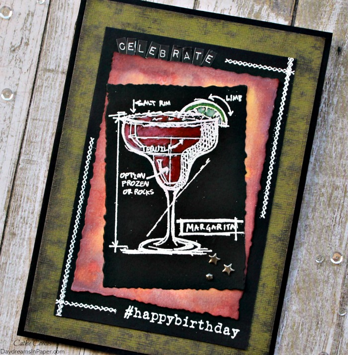 Happybirthday tim holtz cocktails blueprint daydreams in paper handmade card using tim holtz cocktails blueprint stamp set malvernweather Choice Image