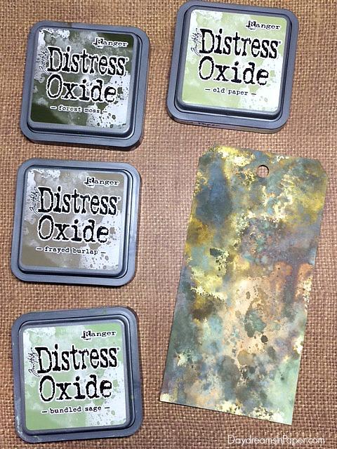 Distress Oxide - Forest Moss, Old Paper, Bundled Sage, Frayed Burlap
